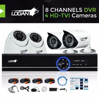 Harga Logan L-DX8221M-ND Video Security System with All in One HD DVR 8CH 1080N and 4pcs HD TVI Metal CCTV Cameras 720P 1.0 Megapixel Weatherproof IP66 Night Vision Smartphone View (No HDD Included)