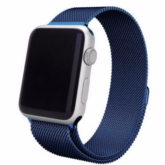 Harga Magnetic Loop Stainless Steel Watch Bands Strap For Apple Watch iWatch 42mm (Blue)