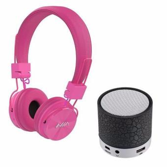NIA-X3 108dB 4 in 1 Collapsible Wireless Bluetooth Over the Ear Headphone (Pink) with S-10 Mini LED Bluetooth Speaker (Black) Price Philippines