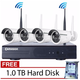 Harga Camvision 4CH 1.3MP Wireless CCTV Kit with FREE 1TB Hard Disk