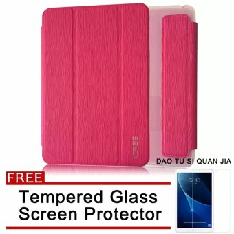 ICASE Auto Sleep / Wake Leather/TPU Flip Cover Case for Samsung Galaxy Tab 3 V / T113 (Pink) with Free Tempered Glass Screen Protector Price Philippines