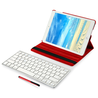 Harga 4 in 1 Wireless Keyboard Stylus Pen Smart Case Screen Film for iPad Air 2 (Red)