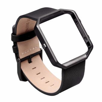 Fitbit Blaze Luxury Classic Genuine Leather Watchband Bracelet Strap with Frame for Fitbit Blaze (Black) Price Philippines