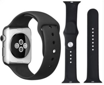 Harga Sport Silicone Bracelet Strap Band For Apple Watch iwatch 42mm (Black)