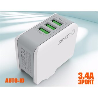 Harga LDNIO 3 Fast USB Ports Travel Charger Travel Adapter /Plug A3303 Free Pouch - intl