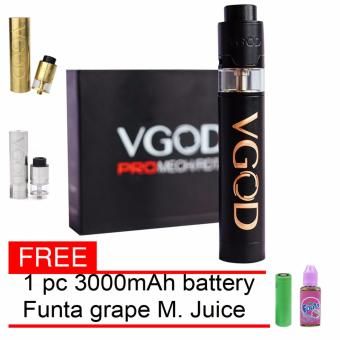 Harga VGOD E-Cigarette Style Pro Mech Mod with Pro Tricktank RDTA 24mm Atomizer Pro Kit (Black) With Free Battery with 30ml Premium Quality E-Juice