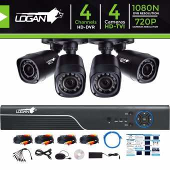 Harga Logan L-DXP441M-ND Video Security System with All in One HD DVR 4CH 1080N and 4pcs HD TVI Plastic Bullet CCTV Cameras 720P 1.0 Megapixel Weatherproof IP 66 Night Vision Smartphone View (No HDD Included)