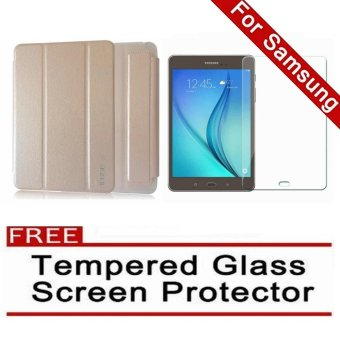 iCase Slim Book Cover for Samsung Galaxy Tab A (2016) 7.0 (SM-T280 T285) (Gold) with FREE Tempered Glass Screen Protector (Clear) Price Philippines