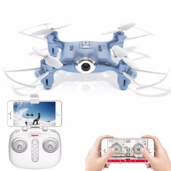 SYMA X21W Mini Drone With Camera Wi-Fi FPV 720P HD 2.4GHz 4CH 6-Axis RC Helicopter Altitude Hold RTF Remote Control (Blue) Price Philippines