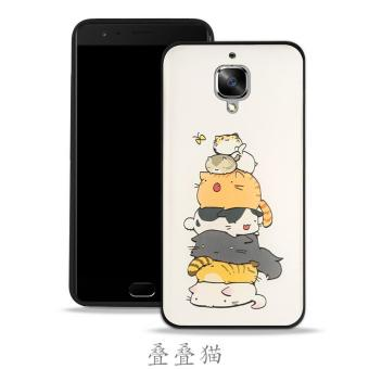 Harga 3D Cartoon Phone Case Silicon TPU Phone Cover For OnePlus 3 / OnePlus 3T (1 X Phone case + 1 X Glass Film) - intl
