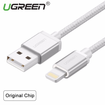 Harga UGREEN Metal Alloy USB Lightning Cable USB Charger Cable Nylon Bradied Design for iPhone 4 5 6 7 iPad - Silver,1.5M - intl