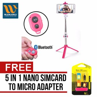 Harga Tripod Stand Bluetooth Remote Shutter Aluminium Telescopic Monopod Selfie Stick For iPhone6S Samsung Galaxy S6 Smartphones (Pink) with free Nano SIM Adapter Nano to Micro SIM Micro SIM to Standard SIM Card Adapter 5 IN 1 Tools Kit