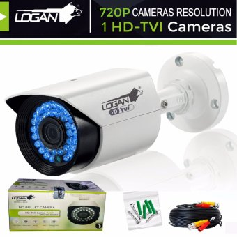 Harga Logan LBX1M HD-TVI Metal Bullet Cameras 720P 1MP with 60ft (18.3m) Video Cable, Weatherproof IP 66 Indoor/ Outdoor, 36IR LED, Night Vision----ONLY for LOGAN XVR KIT or TVI-DVR(White)