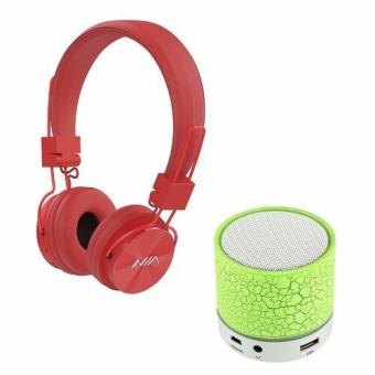 NIA-X3 108dB 4 in 1 Collapsible Wireless Bluetooth Over the Ear Headphone (Red) with S-10 Mini LED Bluetooth Speaker (Green) Price Philippines