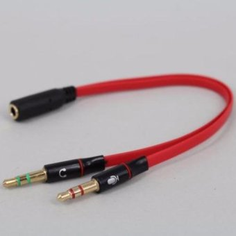 Harga LYBALL 3.5mm 2 Male Plug to 1 Female Jack Audio Stereo Headset Jack Mic Y Splitter Cable Red - intl
