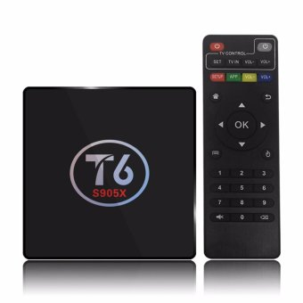 Harga T6 Android 6.0 TV Box Amlogic S905X Quad Core 64Bit 2G + 16G H.265 UHD 4K VP9 3D Mini PC WiFi AirPlay Miracast DLNA - intl