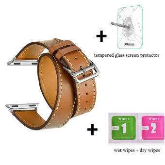 Harga Leather watch band Double Tour Bracelet strap For Apple Watch Iwatch Series 1 Series 2(38mm brown) - intl