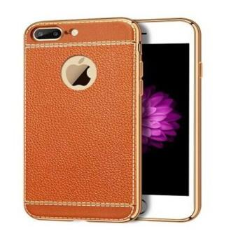 Luxury PU Leather Litchi Grain Bling Plating Frame Phone Cases For iphone 7 & 7 Plus Ultra Thin Soft TPU Back Capa (Light Brown) - intl Price Philippines