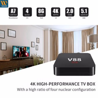 Harga OTT TV Box V88 Quad Core 8GB 4K WiFi/HDMI Streaming Media Player (Black)