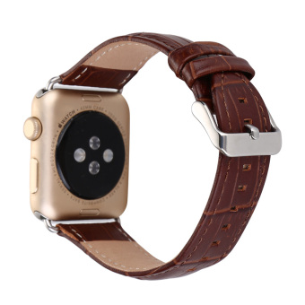 Harga Luxury Crocodile Pattern Leather Wrist Watch Band Strap Belt for iwatch Apple Watch (38mm Brown) - intl