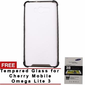 Harga SHOCKPROOF Back case for CHERRY MOBILE omega lite 3 (BLACK) WITH FREE TEMPERED GLASS (CLEAR)