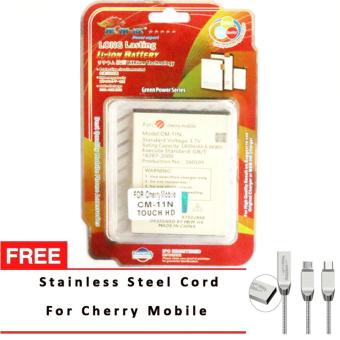 Harga MSM HK Battery for Cherry Mobile CM-11N TOUCH HD with Free Stainless Steel USB Cord for Cherry Mobile