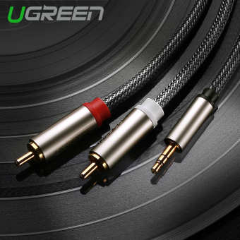 Harga UGREEN 3.5mm to 2 RCA HIFI Audio Cable Nylon Braided Aux Cable Compatible with MP3/4 Cellphone iPod – 0.5m