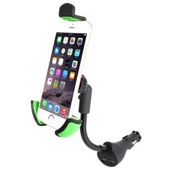 Universal On-board Smart Phone Support Stand Clip Adapter 360°Rotation Automatic Locked Car Phone Holder Bracket Windshield Mount with Dual USB Ports Charger for GPS Mobile cell phone - intl Price Philippines