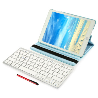 Harga 4 in 1 Wireless Keyboard Stylus Pen Smart Case Screen Film for iPad Air 2 (Blue)