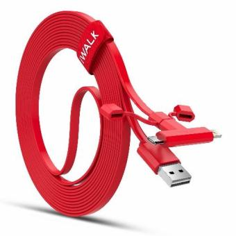 Harga iWALK CST012 1M MFI Certificated 2 in 1 Charge Sync Cable Cord with Micro USB 8 Pin Connector (Red)