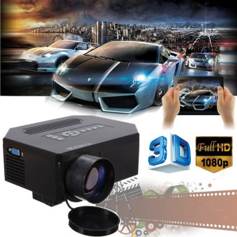 Harga 1200lumens HD 1080P Home Cinema 3D HDMI USB Video Game LED LCD Mini Projector (Black) - Intl