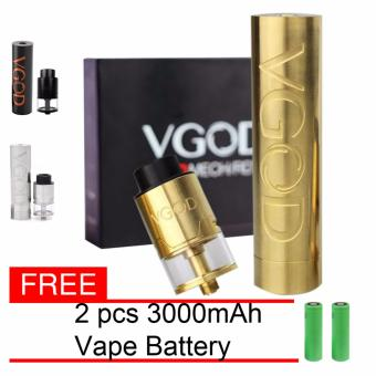 Harga VGOD E-Cigarette Pro Styled Mechanical Mod with pro 24mm rdta atomizer Ecig Kit black (Gold) With Free 2pcs Battery
