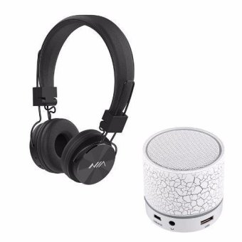 NIA-X3 108dB 4 in 1 Collapsible Wireless Bluetooth Over the Ear Headphone (Black) with S-10 Mini LED Bluetooth Speaker (White) Price Philippines