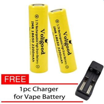 Harga Voligood IMR 18650 2200mAh Rechargeable Battery E-Cigarette Set of 2 with Free Charger for E-Cigarette Battery