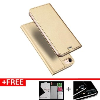 Iphone7P New Crashproof Flip Leather Magnet Phone Case for iPhone 7Plus (Gold)