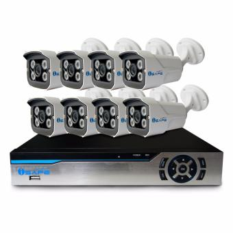 iSAFE AHD8CHKIT-3MP CCTV Camera Package 8CH AHD DVR KIT with 8Weather Proof Cameras (White)