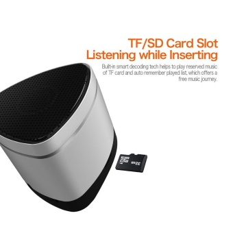 iWALK Sound Angle Mini Passive Bass Portable Bluetooth Speaker withMic and Remote, Long Distance APT-X Bluetooth Speaker with 6-HourPlaytime , 3.5mm Aux Input and Micro SD TF Card Support (Silver) - 4