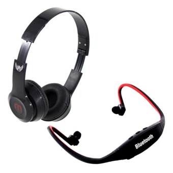 J-03 Adjustable Stereo Smartphone Headset (Black) with SportsStereo Bluetooth Headphone with Mic (Black/Red)