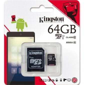 Kingston micro SDXC Memory Card UHS-I 64GB 80mb/s with SD Adapter
