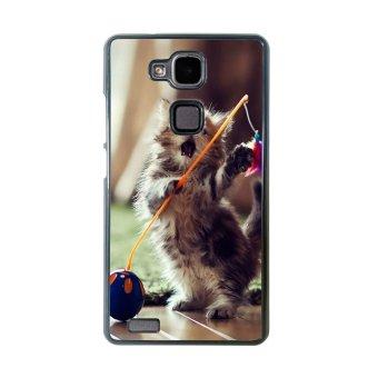 Kitten Cat Pet Cute Pattern Phone Case for Huawei Mate 7 (Black)