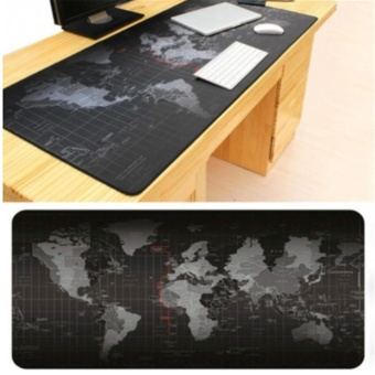 LALANG 800*300*2MM Portable Rubber Extended Gaming Large Keyboard Mouse Pad World Map Pattern S(Black) - intl - 5