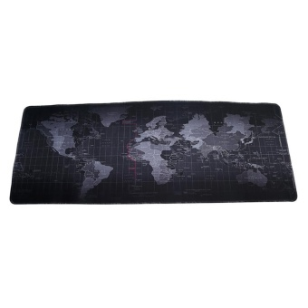 LALANG 800*300*2MM Portable Rubber Extended Gaming Large Keyboard Mouse Pad World Map Pattern S(Black) - intl