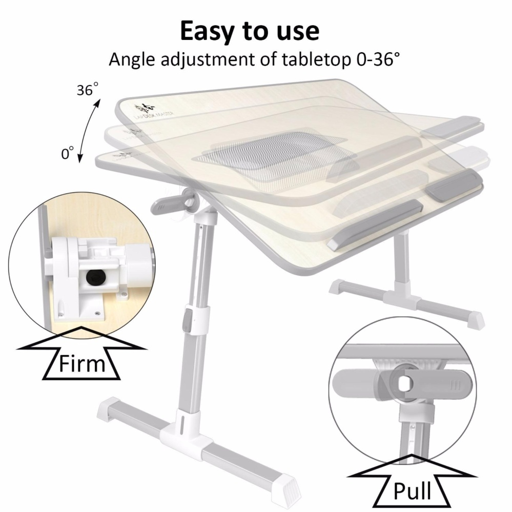 Lap Desk Master Adjule Laptop Bed Tray Table With Cooling Fan Portable Couch