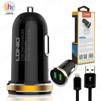 LDNIO DL-C22 2-Port USB Mini Bullet Universal Car Charger With Cable for iPhone7/6s (Black/Gold)