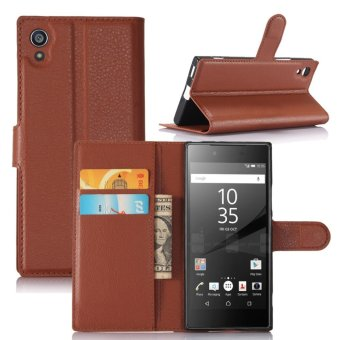 Leather Flip Cover Protective Case For Sony Xperia XA1 (Brown) -intl