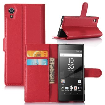 Leather Flip Cover Protective Case For Sony Xperia XA1 (Red) - intl