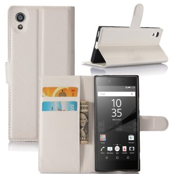 Leather Flip Cover Protective Case For Sony Xperia XA1 (White) -intl
