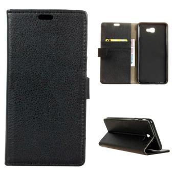 Leather Flip Stand Case Wallet Cover for Samsung Galaxy J7 Prime - Black - intl