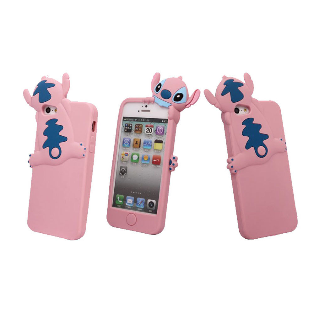 ... Leegoal Pink 3D Stitch Hide and Seek Silicone Case Cover for AppleiPhone 5