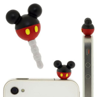 Leegoal Red/Black 3.5mm Universal Mickey Mouse Dust Plug Anti DustProof for Samsung/iPhone/HTC Etc - Intl